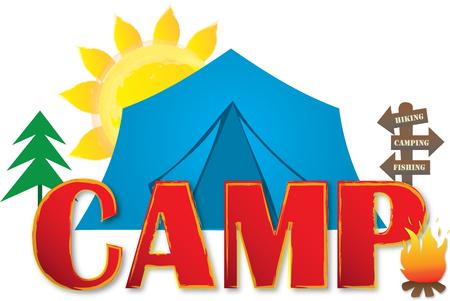 Camp Logo with Tent and Sun Illusztráció
