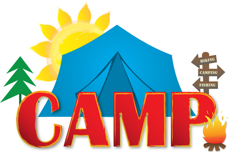 Camp Logo with Tent and Sun Illustration