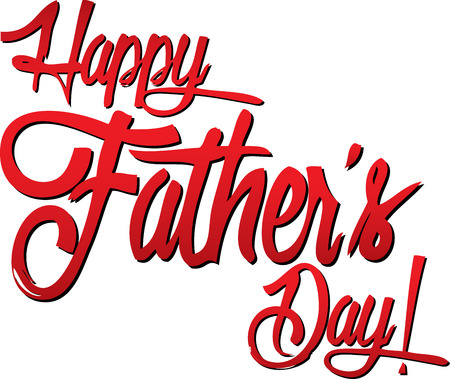 Happy Fathers Day Red Script
