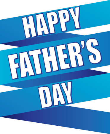 Happy Fathers Day Blue Ribbon Background Stock Illustratie