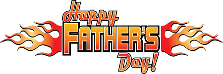 Happy Fathers Day Logo with Flames 일러스트