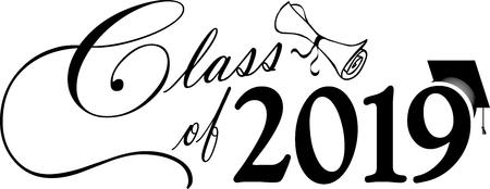 Klasse van 2019 banner met diploma en afstuderen GLB Stockfoto - 105061848