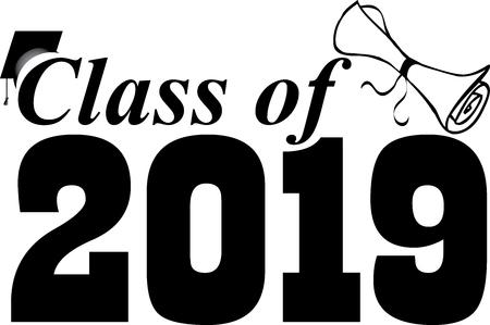 Bannière de classe 2019 avec casquette et diplôme Vecteurs
