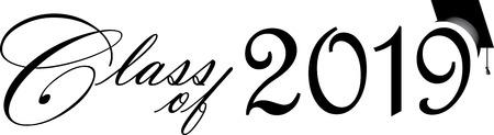 Class of 2019 Script with Graduation Cap Vectores
