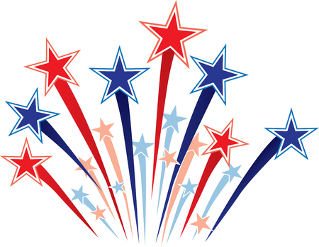 Red White and Blue Stars Graphic Illustration