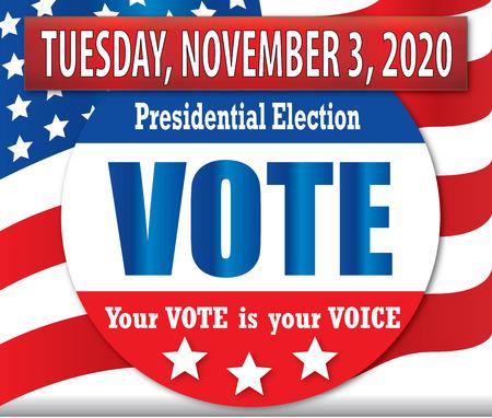 Głosuj wtorek, 3 listopada 2020 r. Ilustracje wektorowe