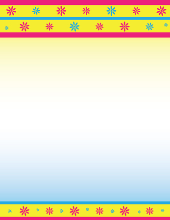 Decorative Floral Border in Pink, Blue, and Yellow
