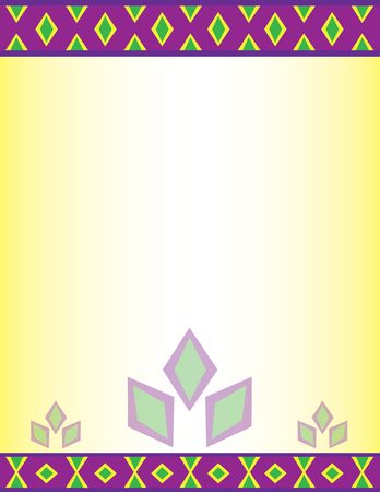 Full Page with Decorative Border in Purple and Green