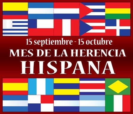 mes de la Herencia Hispana Ilustración de vector