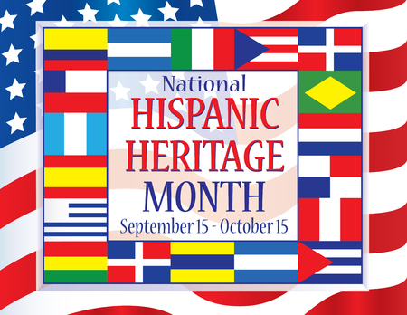 Hispanic Heritage Month September 15 - October 15 向量圖像