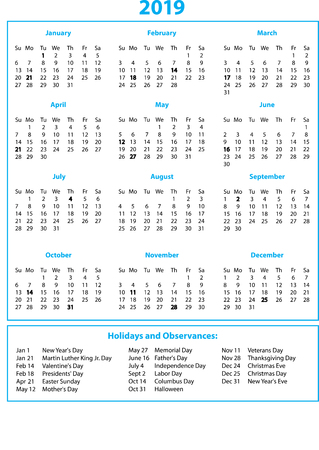 2019 Calendar Year on One Page Blue and Black