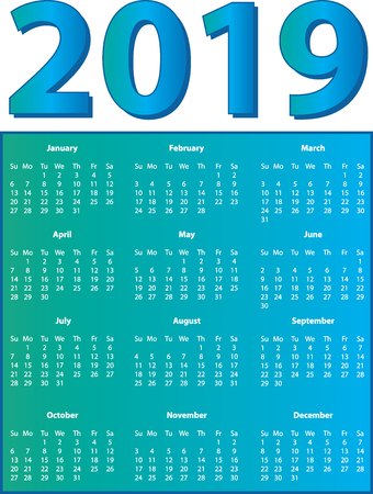 2019 Full Color Full Page Calendar