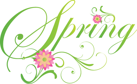 Spring Scroll Banner in Green graphic  イラスト・ベクター素材