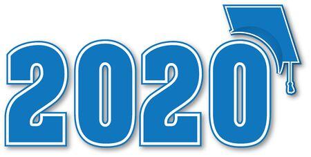 Niebieska klasa 2020 z czapką ukończenia szkoły Ilustracje wektorowe