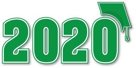 Clase verde de 2020 con gorro de graduación Ilustración de vector