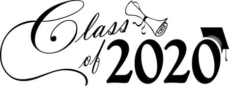 Class of 2020 script with diploma and hat