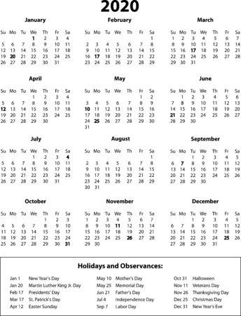 Calendario 2020 a pagina intera Vettoriali