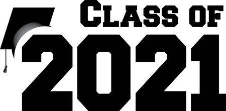 Class of 2021 with Graduation Cap 일러스트