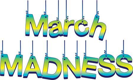 Bannière de lettres suspendues de folie de mars
