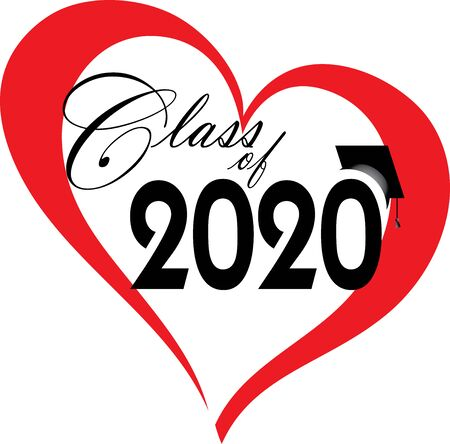 Class of 2020 inside a red heart Illustration