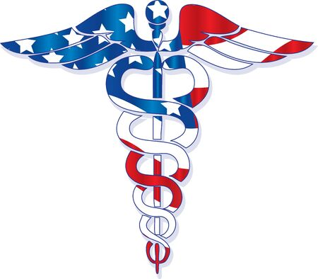 American flag inside the medical symbol