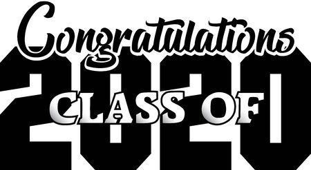 Congratulations Class of 2020 Black and White Illustration