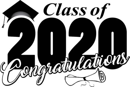 Congratulations Class of 2020 with cap and diploma Illustration