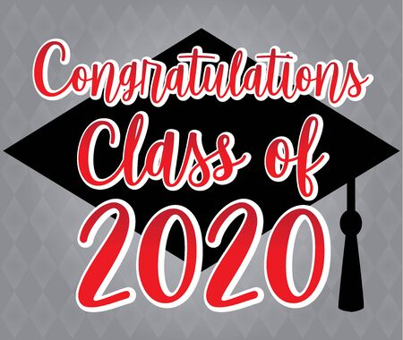 Congratulations Class of 2020 Red and Grey Illustration