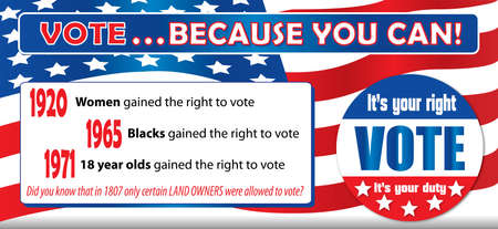 Your right to vote banner. Your vote counts! Illustration