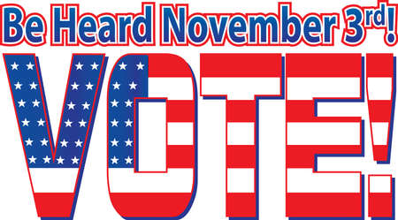 VOTE Banner with American Flag inside letters
