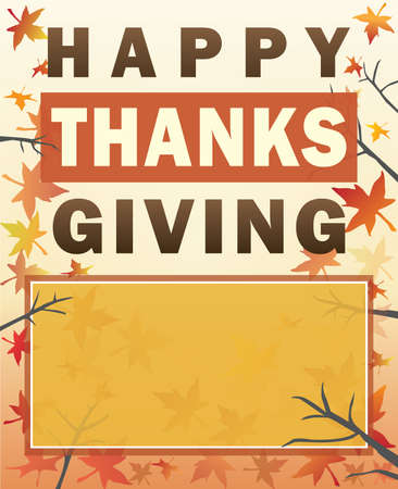 Happy Thanksgiving Poster with fall background and blank space for personalized text Illustration