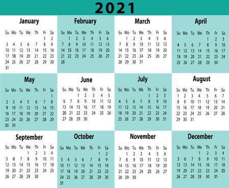 2021 Year Calendar One Page Horizontal