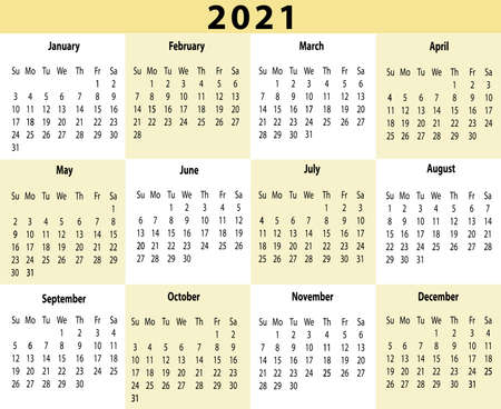 2021 Year Calendar One Page Horizontal Yellow Illustration