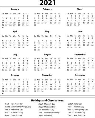 2021 Year Calendar One Page with Holidays Illustration