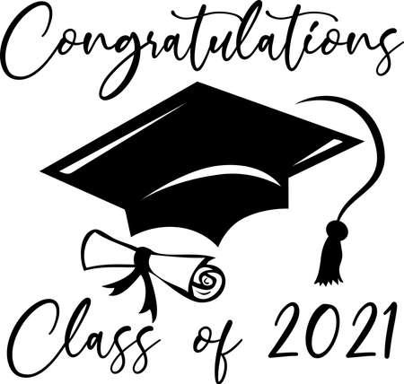 Congratulations Class of 2021 Graduation Cap and Diploma Design