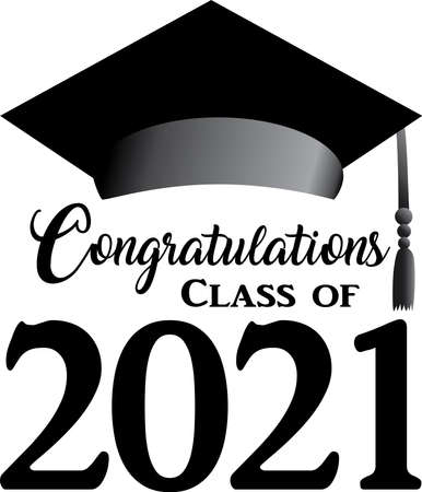 Class of 2021 Script Black and White Stacked with Cap Ilustração