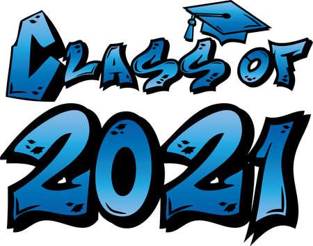 Blue Class of 2021 Graffiti Tag Design 일러스트