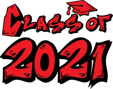Red Class of 2021 Graffiti Tag Design