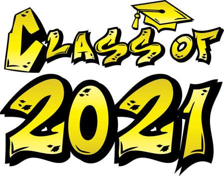 Yellow Class of 2021 Graffiti Tag Design