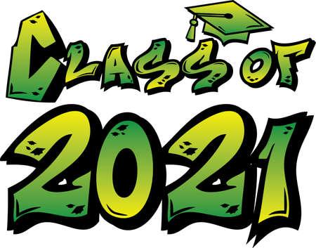 Green Class of 2021 Graffiti Tag Design