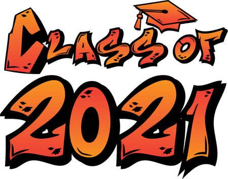Orange Class of 2021 Graffiti Tag Design