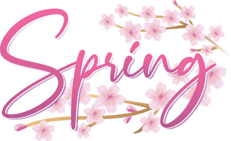 Spring Graphic with Cherry Blossom