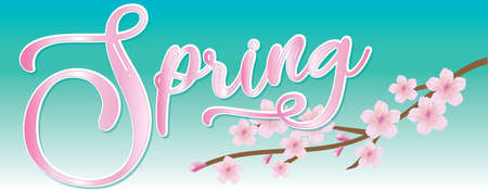 Spring Banner with Cherry Blossom
