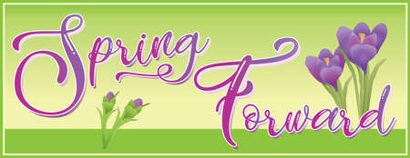 Spring Forward Banner with Green Background and Crocus