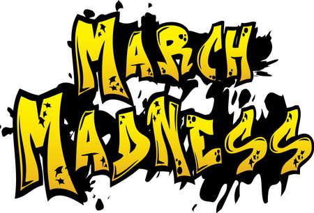 Yellow March Madness Graffiti Art Vektorové ilustrace