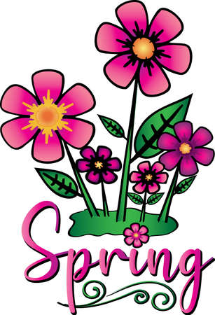 Spring Flowers with Spring Text graphic with bright colors and blossoms