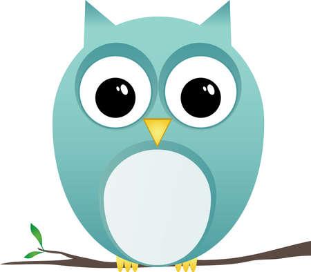 Owl Clip Art Perching on Branch