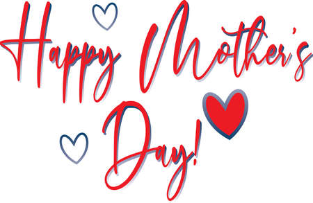 Happy Mother's Day Red Scrawled Graphic 일러스트