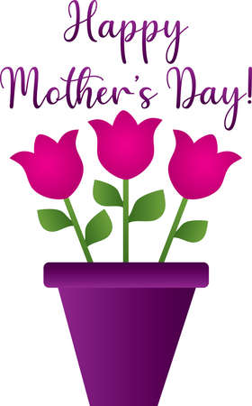 Happy Mothers Day with Flower Pot of Pink Tulips Ilustração