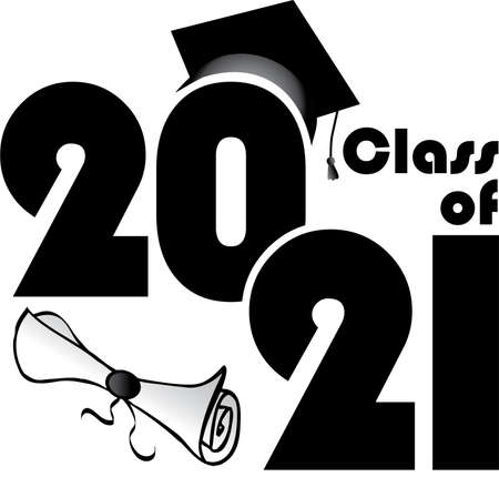 Class of 2021 with diploma and hat stacked Vector Illustratie